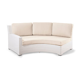 Palermo Left-facing Curved Sofa with Cushions in White Finish