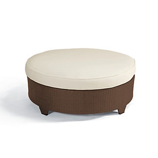 Palermo Round Cocktail Ottoman with Cushion in Bronze Finish, Special Order
