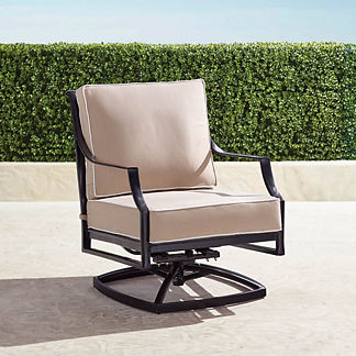 Grayson Swivel Lounge Chair with Cushions in Black Finish, Special Order