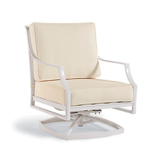 Grayson Swivel Lounge Chair with Cushions in White Finish