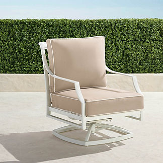 Grayson Swivel Lounge Chair with Cushions in White Finish, Special Order