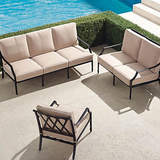 Grayson 3-pc. Sofa Set in Black Finish