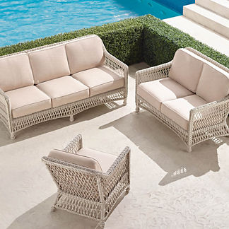 Hampton 3-pc. Sofa Set in Ivory Finish