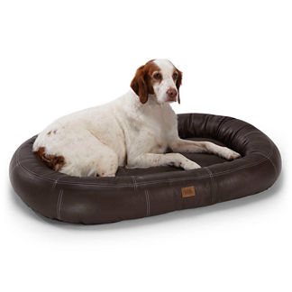 Oval Leather Pet Bed