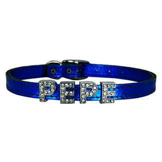 Metallic Leather Slider Dog Collar