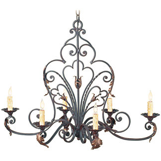 Oval Wrought Iron Outdoor Chandelier