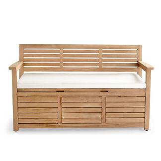 Teak Storage Backed Bench Cushion