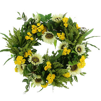 Nolina Sunflower Begonia Wreath