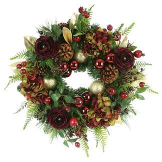 Hydrangea Pine Cone Wreath