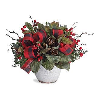 Evergreen & Magnolia Ribbon Arrangement