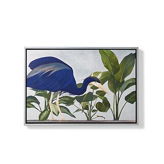 Silvered Indigo Crane Giclee Print