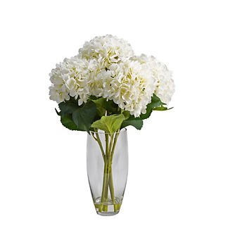 Cream Hydrangeas in Glass Vase