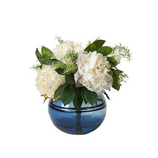 Cream Peonies in Blue Glass Bowl