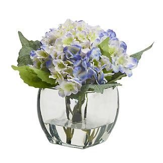 Light Blue Hydrangea in Glass Cube