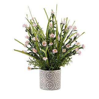 Pink Wildflowers in Ceramic Planter