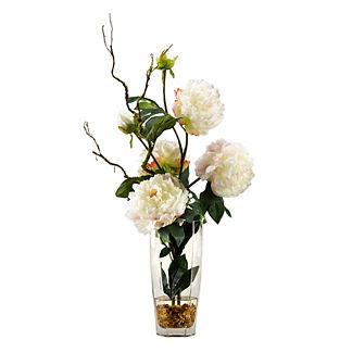 Cream Peonies in Glass Vase