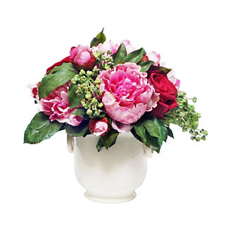 Peonies and Roses in Cream Cachepot