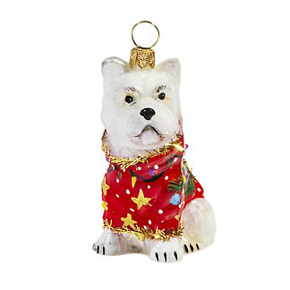 Diva Dogs Westie in Ugly Christmas Sweater Glass Ornament