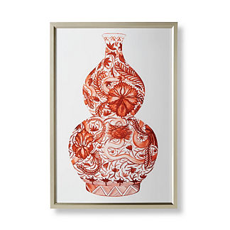 Watercolor Coral Ming Double Gourd Vase Giclée
