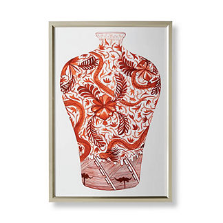 Watercolor Coral Ming Dragon Vase Giclée Print