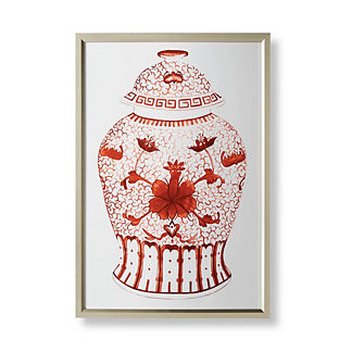Watercolor Coral Ming Flower Jar Giclée Print