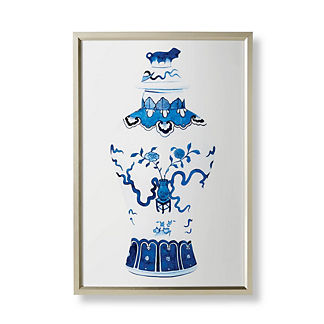 Watercolor Blue Ming Temple Jar Giclée Print