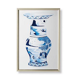 Watercolor Blue Ming Trumpet Vase Giclée Print