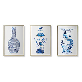 Watercolor Blue Ming Giclée Prints, Set of Three