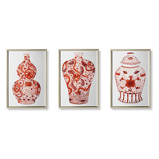 Watercolor Coral Ming Giclee Prints, Set of Three