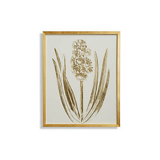 Royal Crimson Hyacinth Gilded Silkscreen Botanical Print on White from the New York Botanical Garden Archives
