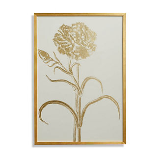 Double-flowered Narcissus Gilded Silkscreen Botanical Print on White from the New York Botanical Garden Archives