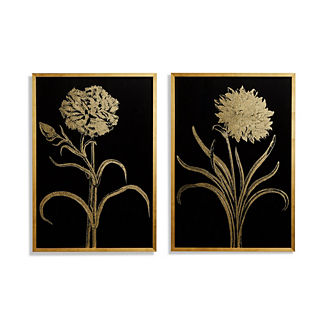 Gilded Silkscreen Botanical Prints on Black from the New York Botanical Garden Archives, Set of Two