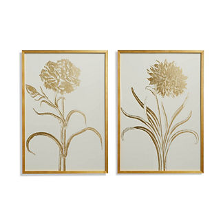 Gilded Silkscreen Botanical Prints on White from the New York Botanical Garden Archives, Set of Two