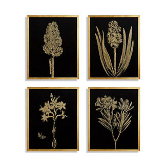 Gilded Silkscreen Botanical Prints on Black from the New York Botanical Garden Archives, Set of Four
