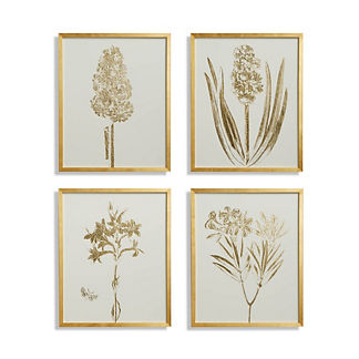 Gilded Silkscreen Botanical Prints on White from the New York Botanical Garden Archives, Set of Four