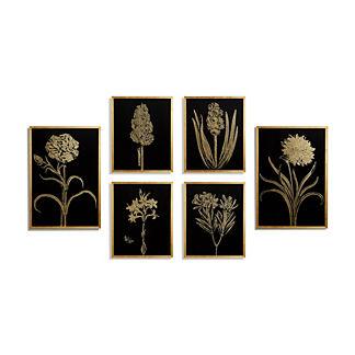 Gilded Silkscreen Botanical Prints on Black from the New York Botanical Garden Archives, Set of Six