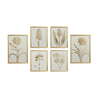 Gilded Silkscreen Botanical Prints on White from the New York Botanical Garden Archives, Set of Six