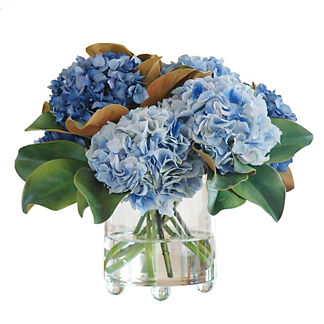 Blue Hydrangea in Footed Glass Vase