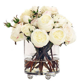 Rose in Footed Glass Cylinder Vase