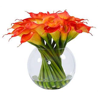 Calla Lily in Round Glass Vase