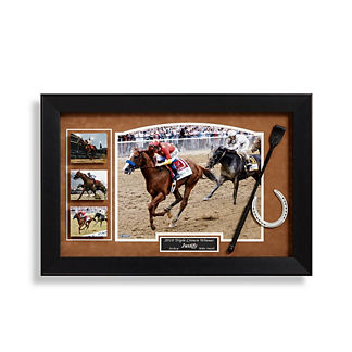 Mike Smith and Justify Signed Triple Crown Display