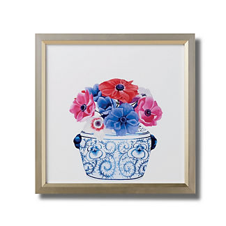 Watercolor Blue Ming Foo Dog Jar with Anemones Giclee Print