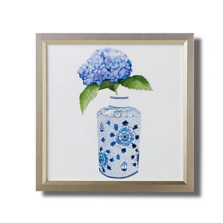 Watercolor Blue Ming Apothecary Jar with Hydrangeas Giclee Print