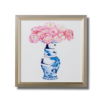 Watercolor Blue Ming Trumpet Vase with Peonies Giclee Print