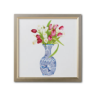 Watercolor Blue Ming Gourd Vase with Tulips Giclee Print