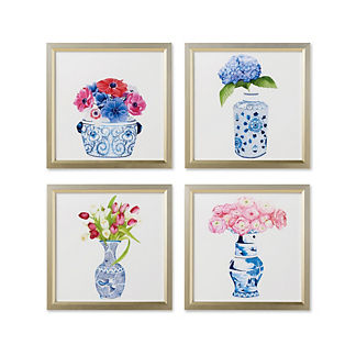 Watercolor Blue Ming with Florals Giclee Prints, Set of Four