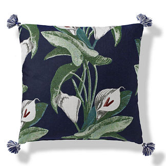 Calla Lily Tasseled Indoor/Outdoor Pillow