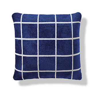 Renzo Grid Outdoor Pillow in Indigo