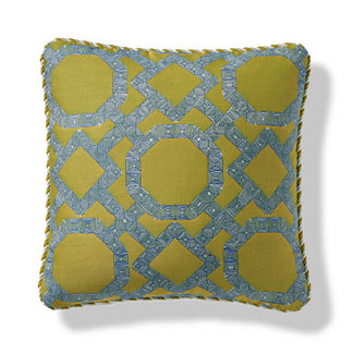 Stitched Fret Indoor/Outdoor Pillow in Citrus