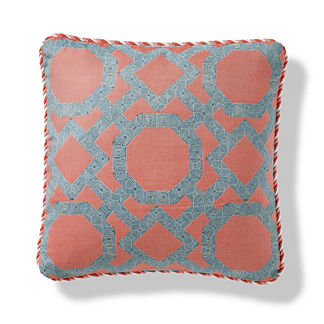 Stitched Fret Indoor/Outdoor Pillow in Guava